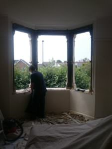 The Interior of a triple bay sash window