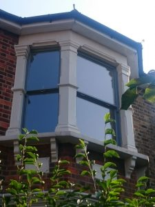 A triple bay sash window